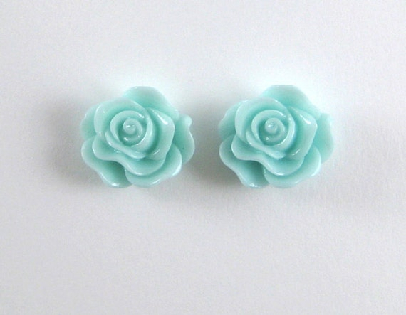 Mint Green Rose Earrings - Resin Rose Post Earrings -  13 mm Stud Earings- Flower Earrings - Cabochon Post Earrings