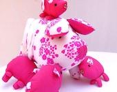 Handmade Mama Pig Animals Doll Baby Toy Pink and White