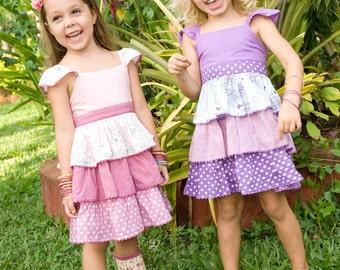 SALE 30% ,Girls Dress, Purple Dress,ruffles dress, Baby Girl dress,Polka Dot Dress,Birthday Dress