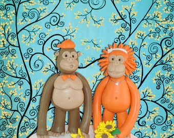 Personlized Gorila and Orangutan Wedding Cake Topper