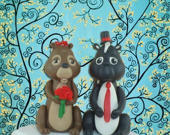 Custom Made Skunk and Chipmunk Wedding Cake Topper