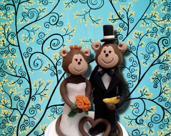 Custom Made Monkey Wedding Cate Topper