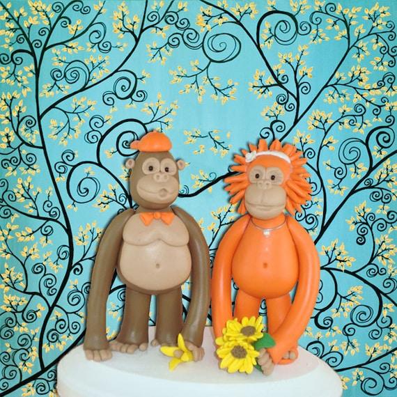 Personlized Gorila and Orangutan Wedding Cake Topper