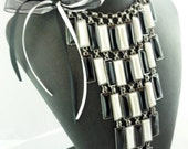 Black and White Art Deco Choker Necklace with Bow -- Art Deco and You