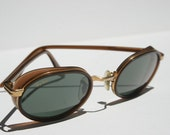 Vintage RAYBAN Side Street  Sunglasses in Rose Gold Copper Bronze Metal Leather Brown Explorer Glacier Glasses Near New