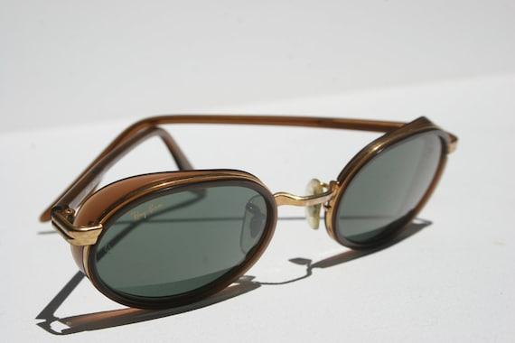 Vintage RAYBAN Side Street  Sunglasses in Rose Gold Copper Bronze Metal Leather Brown Explorer Glacier Glasses Near New