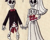 Skeleton Bride and Groom Wedding Day - Embroidered Decorative Absorbent White Cotton Flour Sack Towel, Linen Tea Towel, Waffle Towel