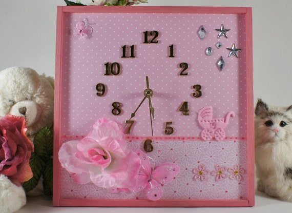baby decor unique wall clock baby shower handmade by n chanted