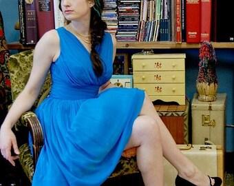 50's Silk Dress Azure Chiffon
