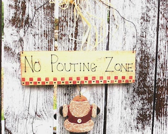 Christmas No Pouting wooden tole painted sign