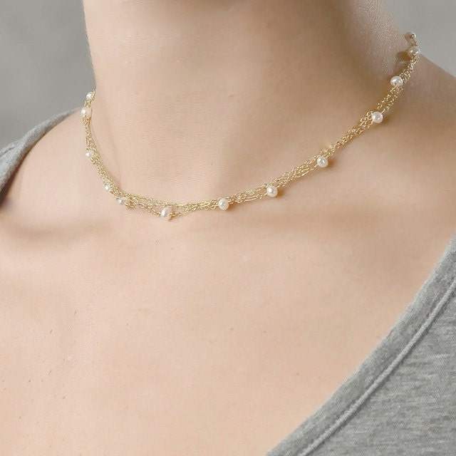pearl multistrand necklace dainty freshwater pearl multichain