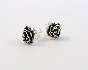 """Simple Classic Petite Rose Stud Earrings. """"Forever Rose Stud Earrings"""" Handmade Sterling Silver Rose Earrings. Everyday Earrings."""