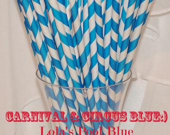 Carnival BLUE Paper Straws / 25 oh so RETRO Food Truck, Concessions, Circus, POOL Party Perfect