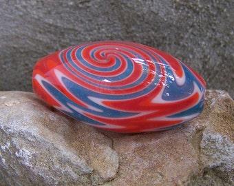 Handblown Glass Glitter Wig-Wag Reversal Bead