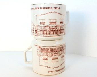 Vintage New Braunfels souvenir coffee mugs