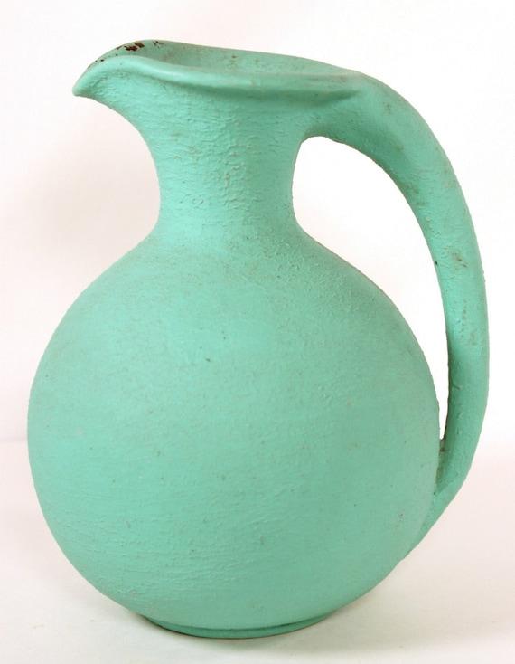 Vintage teal ceramic pitcher