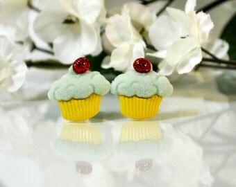 Blue and Yellow Cupcake Earrings - Button Earrings - Cupcake Post Earrings