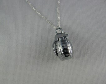 Grenade Necklace on 925 Sterling Silver chain, Hand Grenade Pendant Necklace, Timebomb Necklace