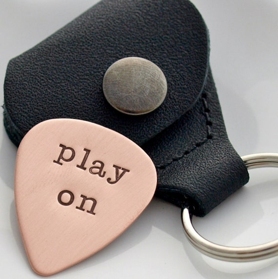 Hand Stamped Copper Guitar Pick, Engraved Guitar Pick, Father or Dad Gift with Childrens Names, Musician Gift