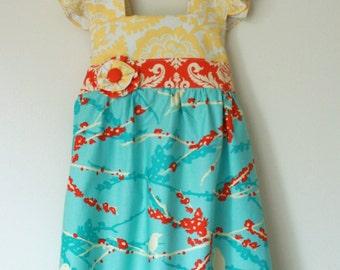 Flutter Sleeve Dress Joel Dewberry Yellow Orange Aqua Sizes 12M 2T 3T 4T 5 6 7 8