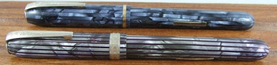 Vintage Majestic Fountain Pen Striated Blue