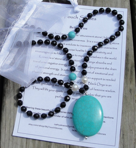 Being You - Turquoise Howlite, Black Onyx, Pearl, Sterling Silver Long Necklace