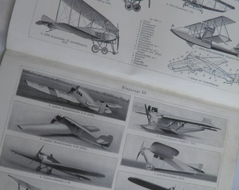 1924 Airplanes - German Text Lithograph - 2 Aviation Pages Front and Back