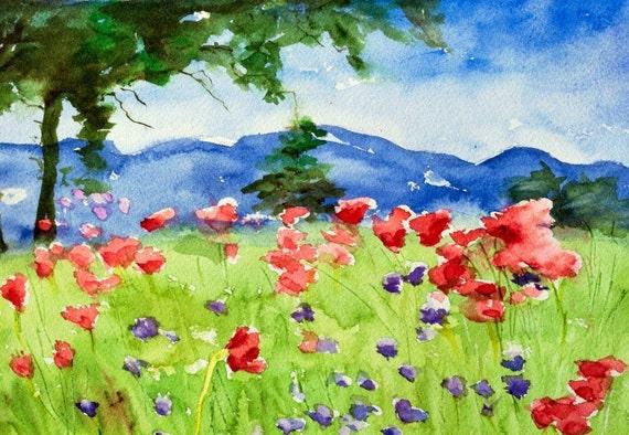 Watercolor painting original colorful impressionist landscape original on Arches paper 9 x 12 Flower Meadow by Lauren Grant