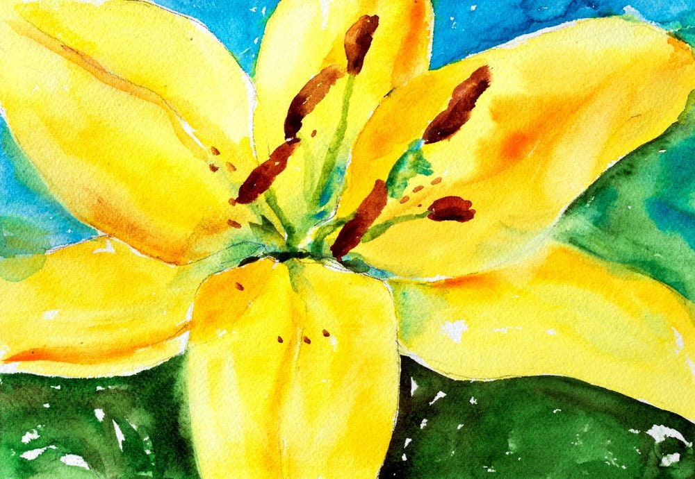 Watercolor flower painting original art of bright yellow lily for Bright flower painting