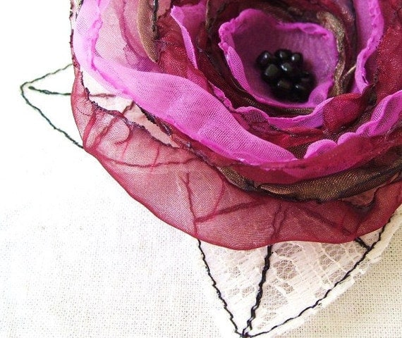 Flower Brooch Pin Raspberry Red Flower Corsage Valentine Love Mix Organza Flower Hair Clip with Tulle Leaf Fascinator by Fairytale Flower