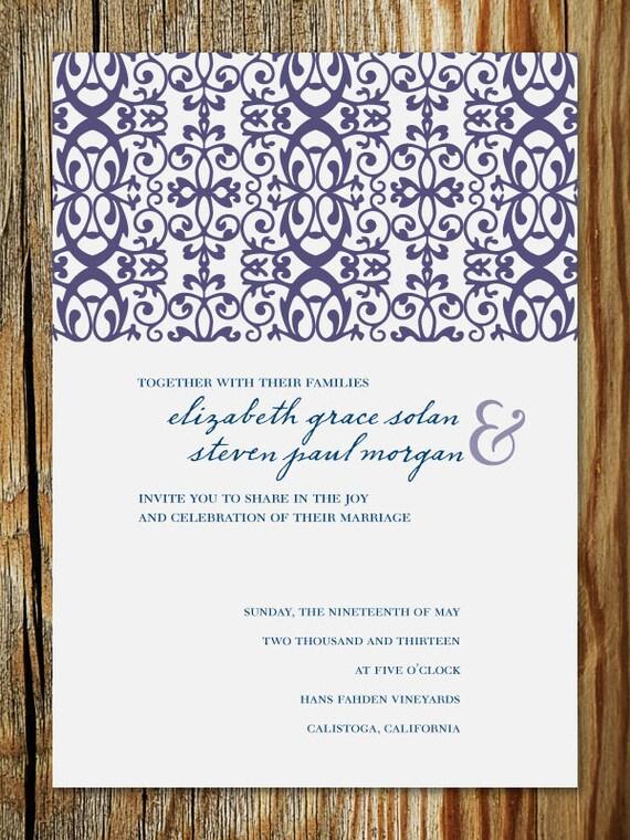 "Scrollwork Garden-Style Wedding Invitation Printable - ""Elizabeth"""