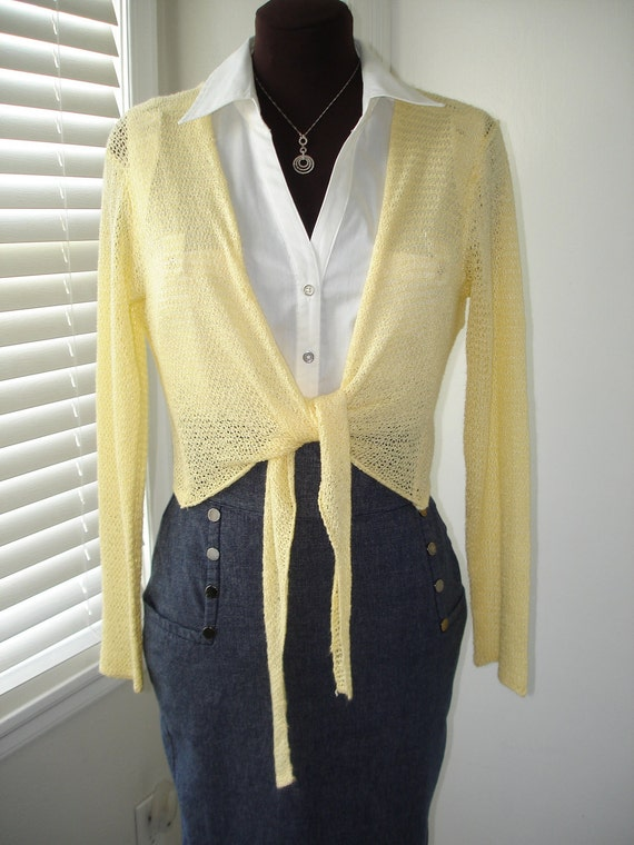 Yellow Lacey Weave Tie Wrap Sweater