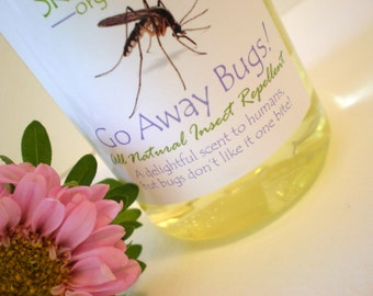 Natural Insect Repellent: Go Away Bugs -  Effective - NO Deet - Organic / Non-GMO   2 oz