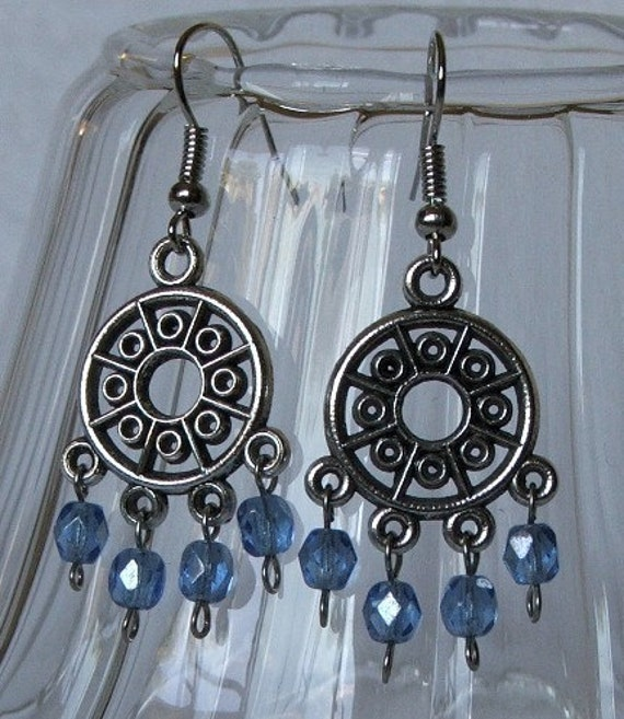 Silver Circles - Pewter Chandelier Earrings - Blue Fire-Polished Czech Glass - Gift Under 20