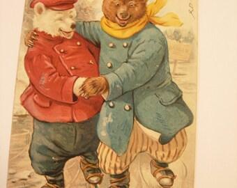 1908 Tuck Postcard The ice bears beautifully Teddy Roosevelt Bears