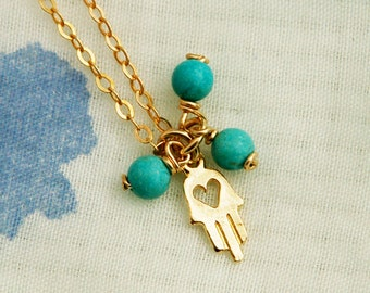 Tiny hamsa necklace, charm gold necklace, turquoise necklace, heart necklace