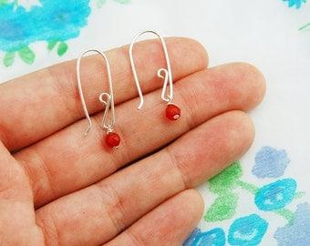 Silver earrings, gold earrings, Carnelian silver earrings, dangle earrings, minimalist earrings, perfect everyday silver sterling earrings
