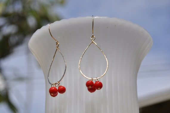 Christmas Gift, Vintage Red Beads, Tear Drop, Hoops, Gold Filled Earrings
