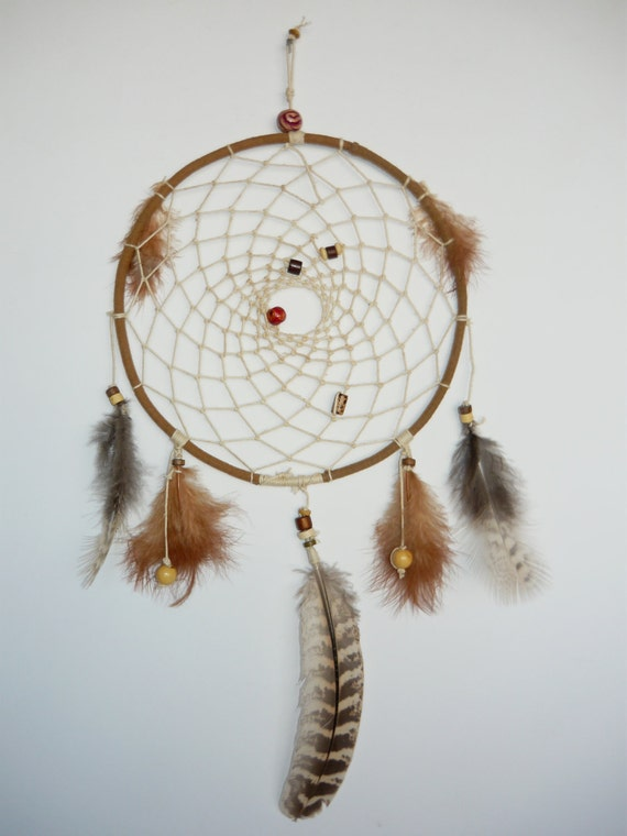 dream catcher large size traditional light feathers brown