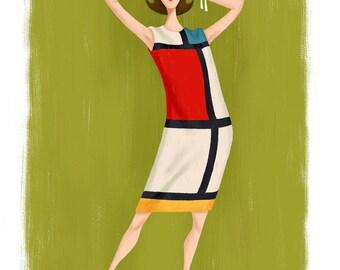 Mondrian Dress, 11x17 print