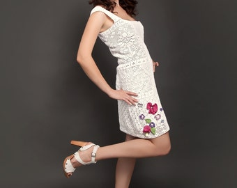 White spring-summer exclusive crochet dress