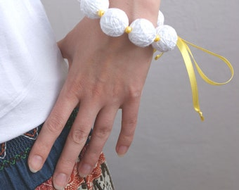 50% SALE White bracelete of a thread cotton for women lace textile natural boxo balls yellow