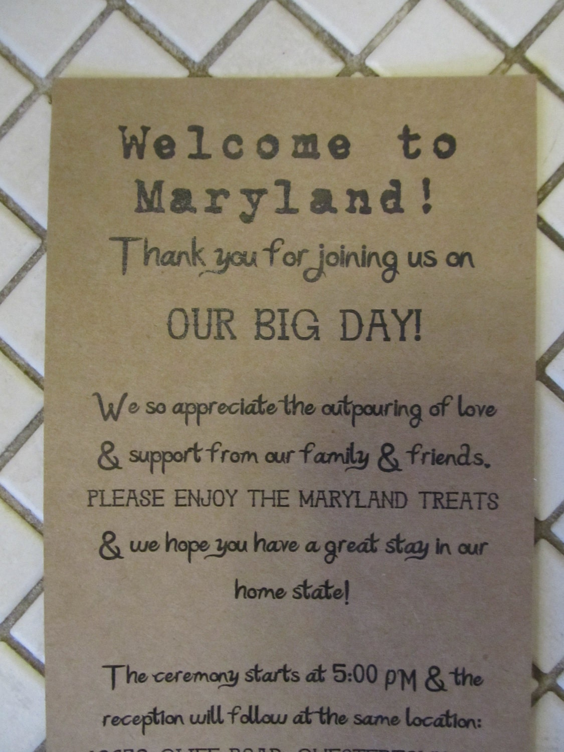 Wedding Hotel Gift Bag Message : Welcome Note for Out of Town Wedding Guests by AlRoad on Etsy