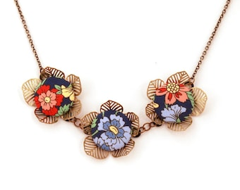 Floral Print Necklace with Antiqued Brass Petals