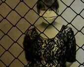 Black and White Portrait Photograph, Woman, Medical Mask, Chain Fence, Sepia Dark Art Photo, Halloween Decor