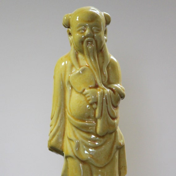 REDUCED Vintage Chinese Porcelain Figurine, Yellow Glazed Ceramic Wise Man (6 Inches)