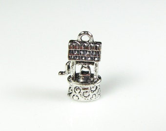 Wishing Well charm Antique Tibetan silver, 4 pieces