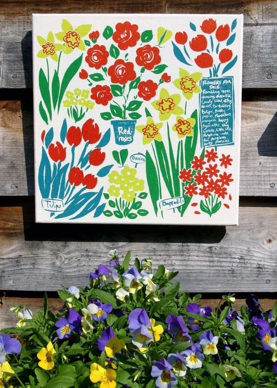 Beautiful flora and fauna print, flower market, eco-friendly wall art.