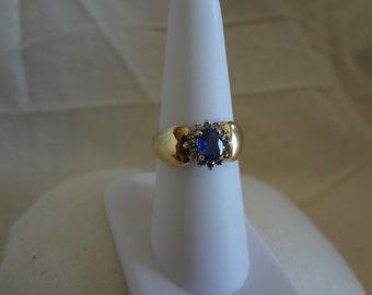 10k Sapphire & Diamond Ring Shiny Elegant GOLD Size 7 Birthday Gift Birthstone