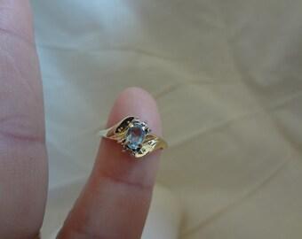 10k Ring Aquamarine Something Blue Wedding Size 6 3/4 Birthstone Birthday Gift
